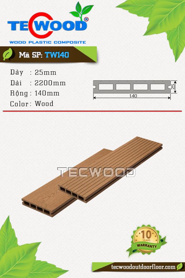Mẫu sàn gỗ công nghiệp TW140 màu Wood