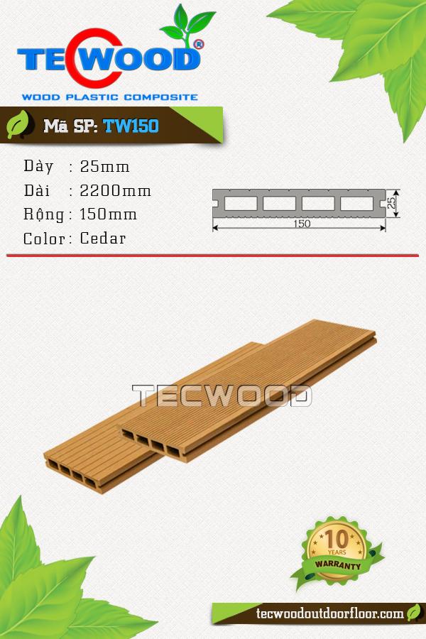 Mẫu sàn gỗ công nghiệp đẹp TW150 màu cedar