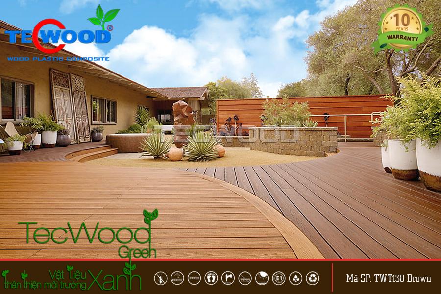 sàn gỗ nhựa lót sân vườn