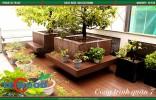 Gỗ nhựa ốp bồn hoa cho không gian sân vườn