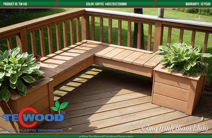 Lót cầu thang ngoài trời từ sàn gỗ nhựa