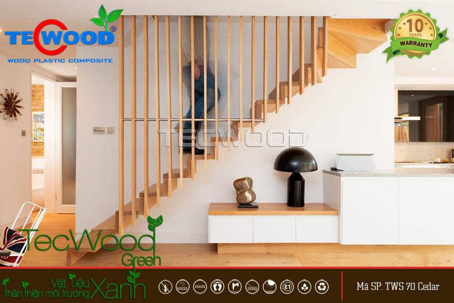 vách ngăn cầu thang bằng gỗ nhựa